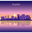 Austin silhouette on sunset background vector image