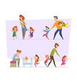 big family tired parents with crazy happy funny vector image vector image