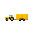 bright yellow tractor with big trailer side view vector image vector image