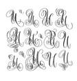 calligraphy lettering script font u set hand vector image vector image