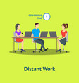 cartoon group of distant work characters people vector image
