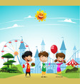 children at the amusement park vector image