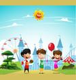 children at the amusement park vector image vector image