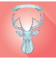christmas deer on pink background vector image vector image