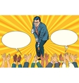 Congratulations a businessman opens the champagne vector image vector image