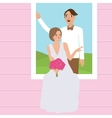 couple man woman wedding dress portrait in window vector image vector image