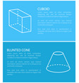 cuboid and blunted cone set vector image vector image