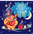 cute owl with cup coffee vector image vector image