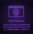data protection neon light icon vector image