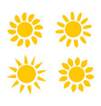 different yellow sun icons on white background vector image vector image