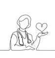 doctor with stethoscope treat patient woman vector image