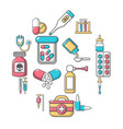 drug medicine icons set cartoon style vector image vector image