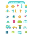 Festival Concert and Camping Flat Icons vector image vector image