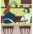 friends baking together and making dough in the vector image vector image