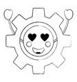 gear machinery piece cute kawaii cartoon vector image