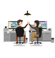 give me high-five two business man and woman vector image