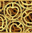 golden clockwork with a heart symbol vector image vector image
