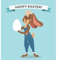 Greeting card Easter rabbit girl vector image vector image
