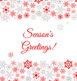 Greetings card with snowflakes vector image vector image