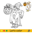 halloween coloring with colored example cute ghost vector image