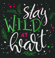 hand drawing lettering phrase - stay wild at heart vector image