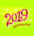 happy new year 2019 greeting card two thousand vector image vector image