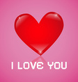 I Love You Red Heart on Pink Background vector image vector image