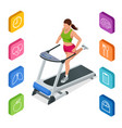 isometric young woman in sportswear running on vector image