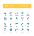 line icons set workplace vector image vector image