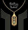 luxury art deco filigree pendant jewel with green vector image vector image