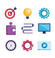 marketing seo set icons vector image