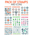 mega pack of stamps and technology web icons vector image vector image