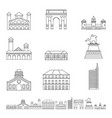 Milan italy city skyline icons set outline style