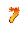 number 7 fire flames font seven tattoo alphabet vector image vector image