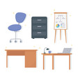 office workplace desk lamp laptop chair cabinet vector image vector image