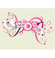 Pink ornament with floral vector image