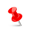 realistic red push pin with soft shadow vector image