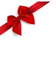 red realistic bow with ribbon isolated on angle vector image vector image