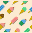 seamless pattern with ice cream and cup cake vector image