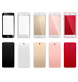set of modern smartphones on a white background vector image vector image