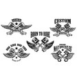 set winged motorcycle and car pistons design vector image vector image
