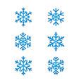 snowflakes line set blue color vector image vector image