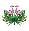 tropical summer pink flamingo cartoon vector image vector image