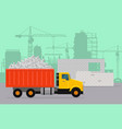 trucking on construction flat concept vector image