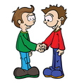 two boys shaking handseps vector image vector image