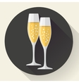Two glasses of champagne Icon in the flat style vector image vector image