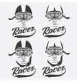 vintage set of racer head vector image vector image