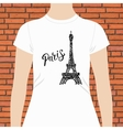 White Woman Shirt with Paris Text and Eiffel Tower vector image vector image