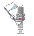 with flag miniature spark plug in cartoon shape vector image