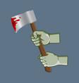 zombie hand grab bleeding ax vector image vector image